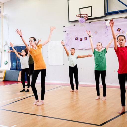 contemporary dance class performing