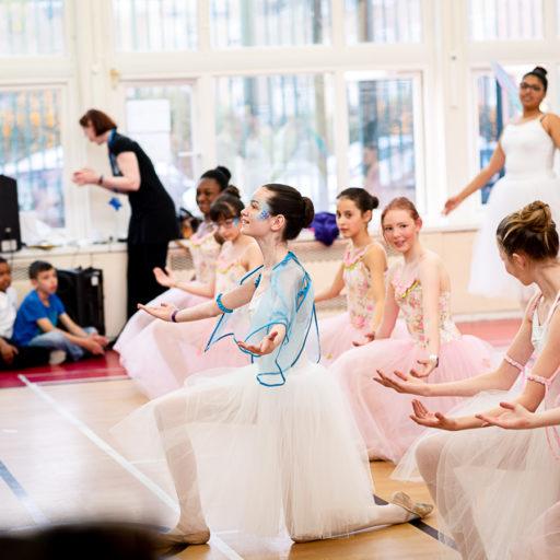 Sugar plum fairy dancers performing