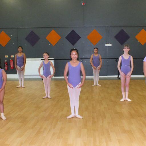 ballet class dancers standing in 1st position